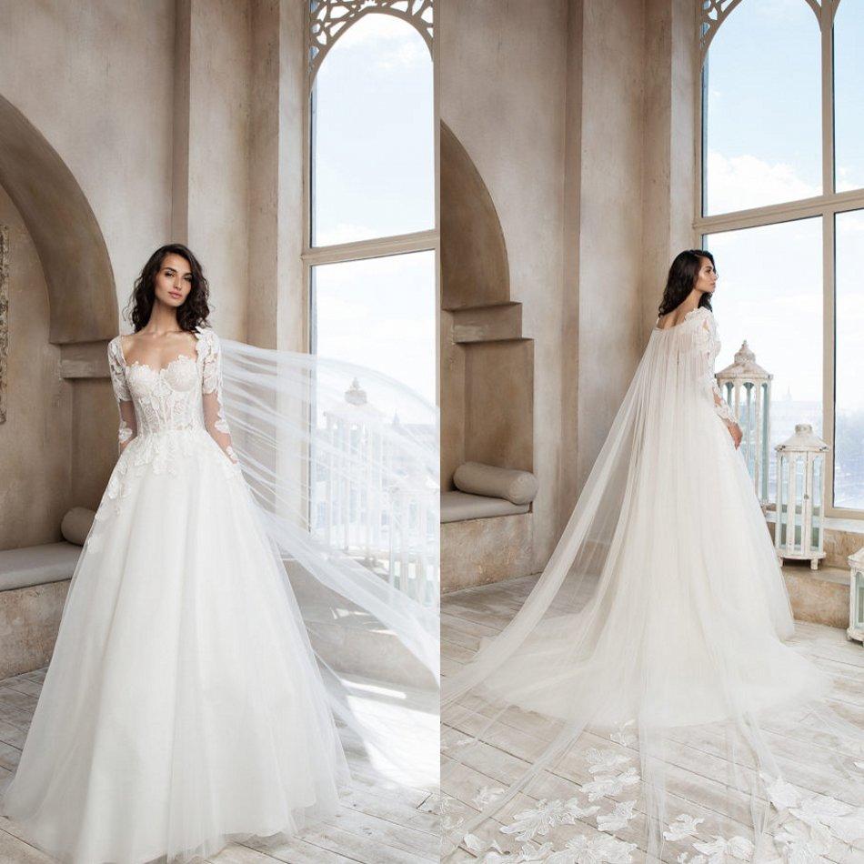 Berta 2020 Wedding Dresses With Wrap Square Lace Beach Bridal Gowns Backless Sweep Train A Line Wedding Dress Vestidos De Novia