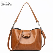 Mododiino Vintage Shoulder Bag Women Bucket Handbag Oil Wax Leather Bags Crossbody For Red DNV1151