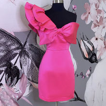 Sexy Rose Red One Shoulder Dress Women Summer Party Ruffle Midi Dresses Robe 2020 African Bow Tie Bodycon Dress Vestiods yellow bow tie front strapless zip back design midi dress