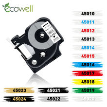 Ecowell 6/9/D1 12 milímetros Compatível para Dymo 45013 40913 43613 40910 45010 45016 Cassete de etiquetas para Dymo LabelManager LM 160 280 210D