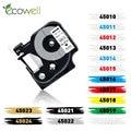 Разноцветная ярлыковая лента Ecowell 45013 45010 45016 совместимый с Dymo D1 45018 12 мм, ярлыковая лента для Dymo LabelManager 210D 160 280
