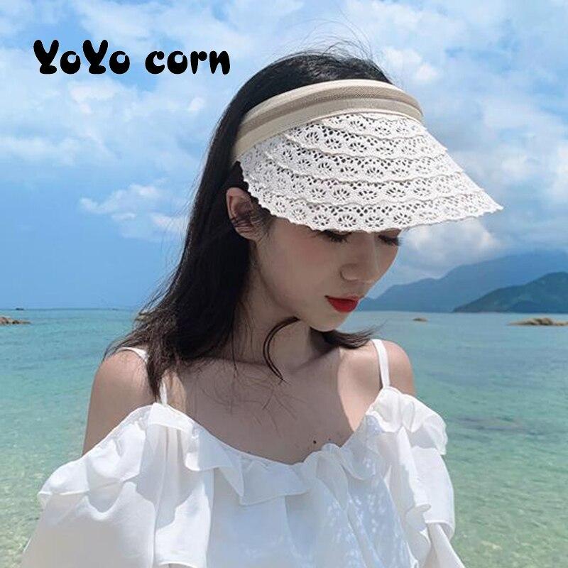 Nuevos sombreros de Sol de cinta de verano de playa de arena, sombrero de mujer suave transpirable, visera de paja, malla a rayas, sombrero de playa con lazo, gorra para sol para aire libre