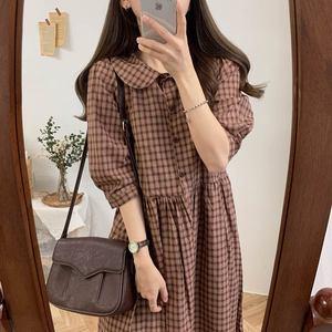 Image 3 - コットンヴィンテージドレス女性新カジュアルかわいいスウィートプレッピースタイル韓国日本 A ラインピーターパン襟格子縞のシャツドレス 9012