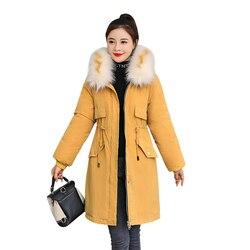 -30 градусов новый 2019 Для женщин зимняя куртка с капюшоном и меховой воротник Женская зимняя обувь Пальто Длинные парки с Меховая подкладка п... 6