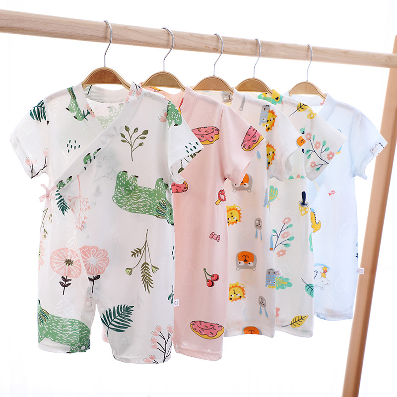 Cartoon spring and summer one-piece short-sleeved romper for men and women baby newborn baby short-sleeved romper cotton