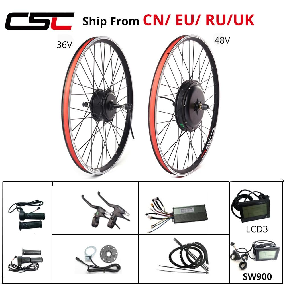 Комплект для переоборудования электрического велосипеда 36V 48V 250W-1500W 20 24 26 27,5 28 29 дюймов 700C спереди и сзади, фара для электровелосипеда в мото...