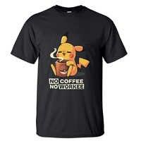 Camiseta de Pikachu sin café sin trabajo para hombres camisetas 2019 algodón de verano de manga corta Harajuku Linda camiseta Japón Anime camisetas
