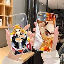 악마 슬레이어 Kyojuro Rengoku anime 전화 케이스 iPhone 6 7 8 11 12 s 미니 프로 X XS XR MAX Plus SE cover funda