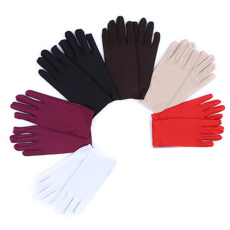 Unisex Summer Thin Elastic Driving Sunscreen Gloves Ladies Fashion Spandex Gloves Simple Etiquette Show Men Solid Color Gloves