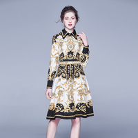 Europe and the wind of autumn new fund temperament of printed character bump color restoring ancient ways of cultiv dress