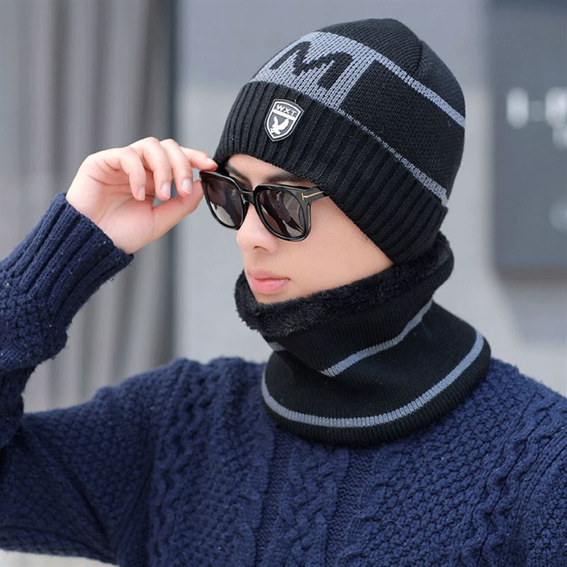 Men's Ring Scarf And Hat Set Winter Autumn Kitted Men Classic Warm Hats Scarves Men Unisex Winter Hat Scarf Female Set