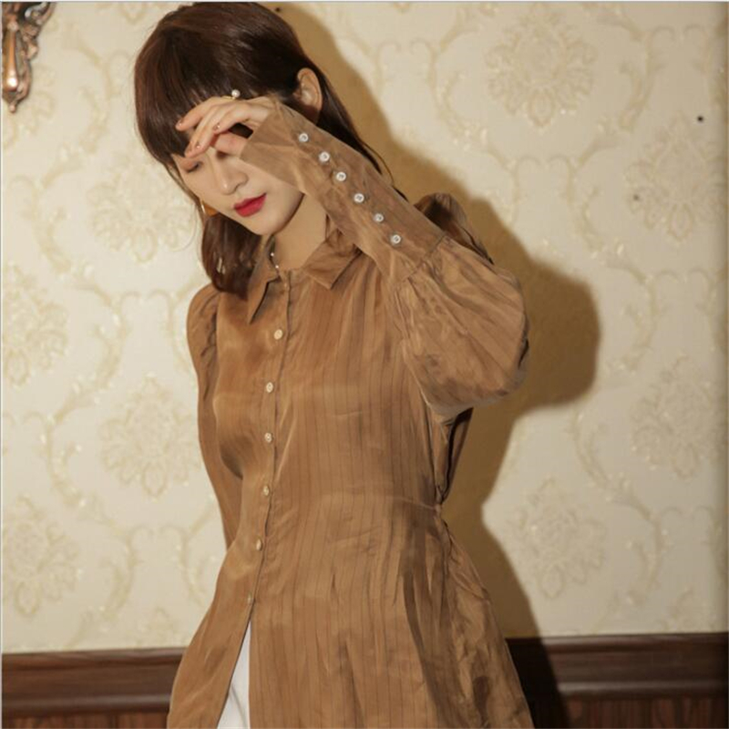 New design caramel color niche women's shirts,European and American vintage long sleeve women's fashion shirt