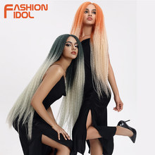 FASHION IDOL Afro Kinky Straight Hair Weave Long Braided Wig Cosplay 38inch Lace Front Wigs For Black Women Ombre Pink Green Wig(China)