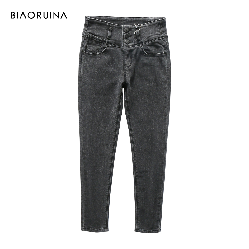 BIAORUINA Women's Casual High Waist Velvet Liner Keep Warm Winter Jeans Female Skinny Fashion Jeans Three Buttons Ankle Length