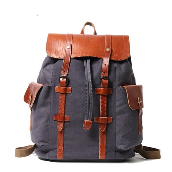 M337 New Pure Cotton Canvas Classic Female Student Canvas Backpacks Men's Casual Outdoor Travel Computer Bag First Layer Cowhide