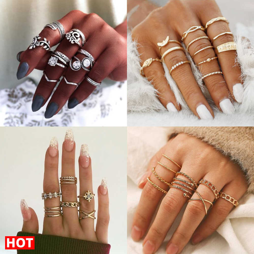 17Km Bohemian Gold Vintage Ringen Ster Maan Kralen Crystal Ring Set Vrouwen Charm Joint Ring Party Wedding Fashion Sieraden geschenken