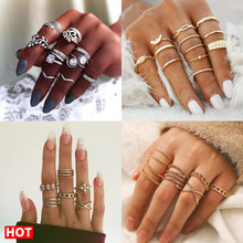 17Km Bohemian Gold Vintage Ringen Ster Maan Kralen Crystal Ring Set Vrouwen Charm Joint Ring Party Wedding Fashion Sieraden geschenken(China)