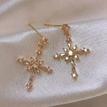 Zircon Cross Earrings for Women Fashion Gold Plated Jewelry