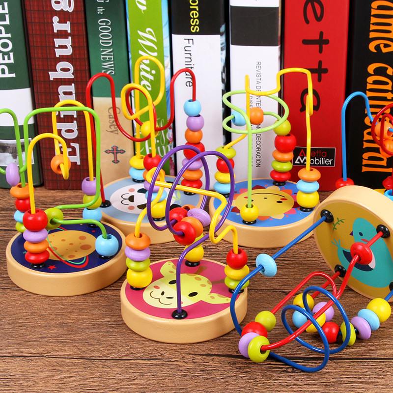 Wooden Mini Small Bead-stringing Toy Intelligence Beaded Bracelet Building Blocks Toy Baby Finger Flexible Interactive Parent An