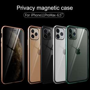 Image 5 - For iPhone 11 Pro Max Case Luxury Magnetic Anti Peeping Front Back Tempered Glass 360 Magnet Antispy Protective Cover Coque
