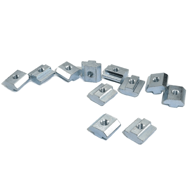 Hot Sale 500Pcs Zinc Plate Coating M4 Groove T-Type Sliding Nut 2020 Profile Groove T-Nut Aluminum Extrusion