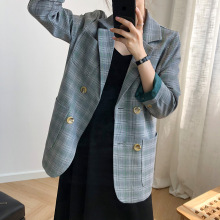 High quality womens plaid jacket 2019 autumn and winter new large pocket full sleeve suit Female office