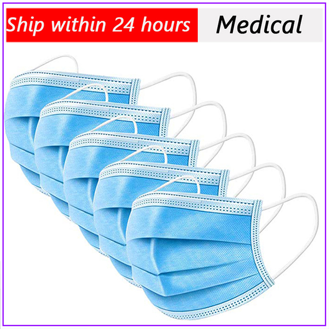 10/20/30/200pcs White Disposable Face Mask 3 Layer Anti Virus Mouth Face Mask Prevent Anti-Dust Bacteria Proof Flu kind M 2