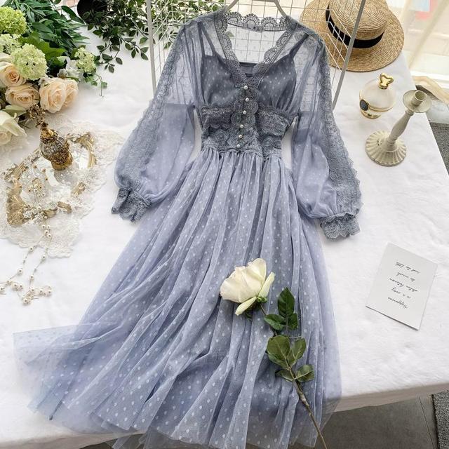 Lace Floral V Neck Long Sleeves  Polka Dot Pearls Sweet Mesh Dress 2