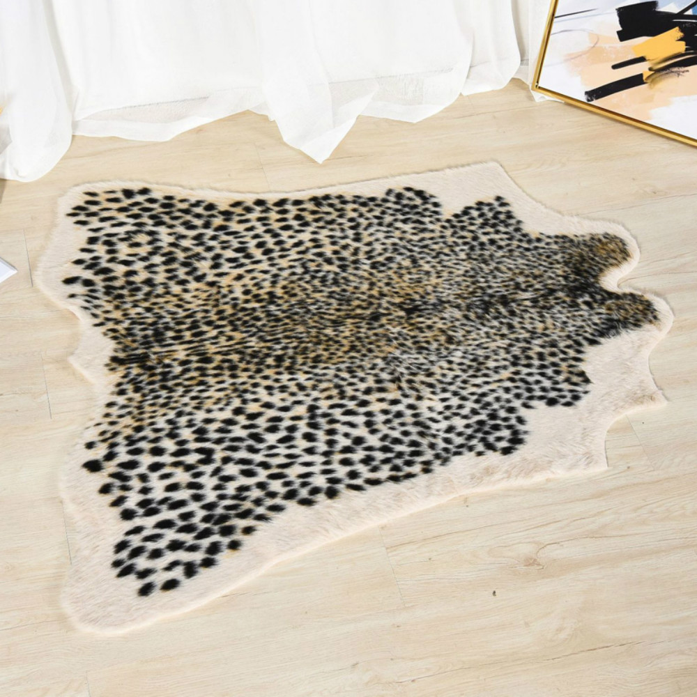 Leopard Print Rug Faux Cowhide Skin Carpet Animal Printed Furry Area Rug For Living Room Decor 110x95cm