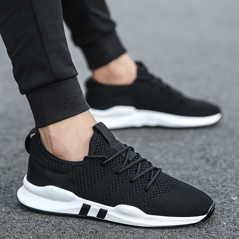 2019 New Style Athletic Shoes Men's Breathable Running Shoe Summer Mesh Fly Woven Casual Anti-slip Korean-style Trend Shoes
