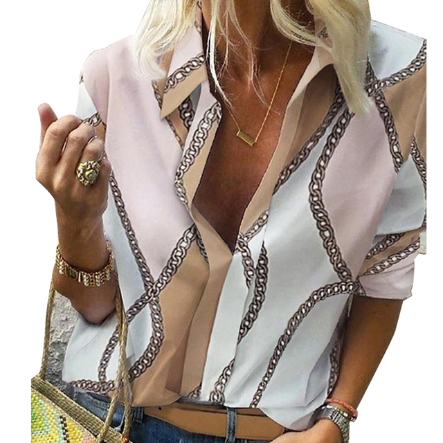 Chain Print Blouse and Shirt Women Long Sleeve Vintage Shirt Womens Tops and Blouse for Women Plus Size Top 5XL Spring 2020 4