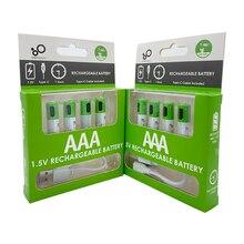 4 sztuk/partia AAA akumulator 1.5V 550mWh USB akumulator litowo-jonowy AAA do zdalnego sterowania bezprzewodowa mysz + kabel