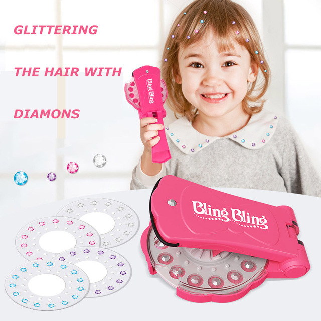 Girl Hairdressing Toys Pretend Play Glass Crystal Rhinestone Round Stones Art Decoration DIY Girl Hair Styling Paste drill Tools 1