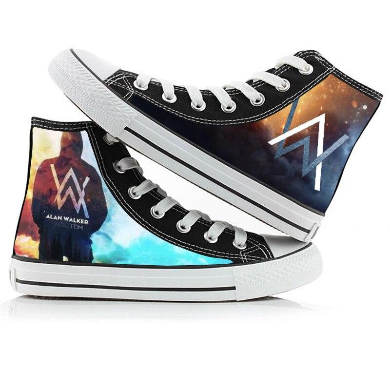 WHOHOLL Alan Walker High Casual shoes women Student print Canvas Shoe Walke Men Women Lovers Flat Shoes