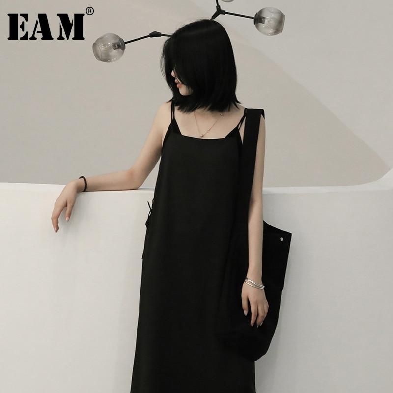[EAM] Women Black Brief Temperament Spaghetti Strap Dress New Round Neck Sleeveless Loose Fit Fashion Spring Autumn 2020 1N604