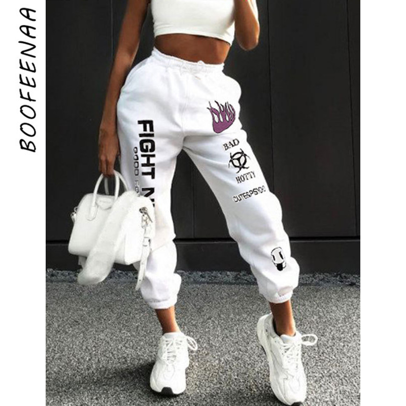 BOOFEENAA Letters Graffiti Print White Sweatpants Joggers Women Streetwear High Waist Harem Pants Casual Trousers C67-AF91