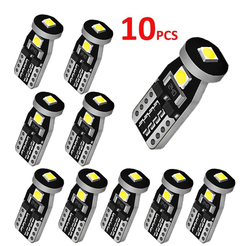 10 светодиодный т., светодиодные лампы T10, белые 168192 501 W5W, светодиодные лампы T10, клиновидный цоколь 3030, 3SMD, внутреннее освещение, 12 В, 6000K, лампы ...