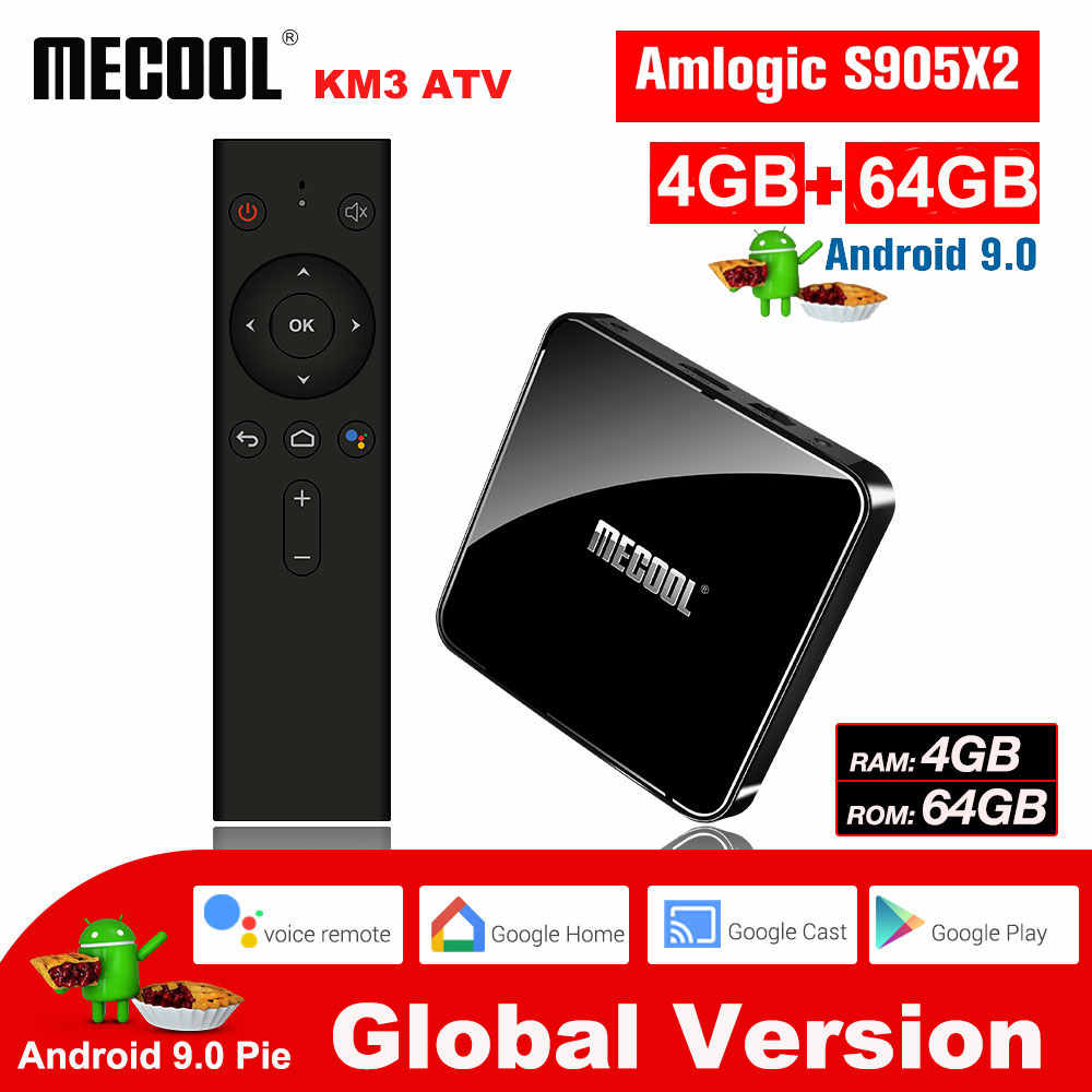 MECOOL KM3 Android 9.0 Smart TV Box 4G DDR4 64G 4K HDR Google Home Play Cast Ultra HD TV Box USB 3.0 lecteur multimédia commande vocale