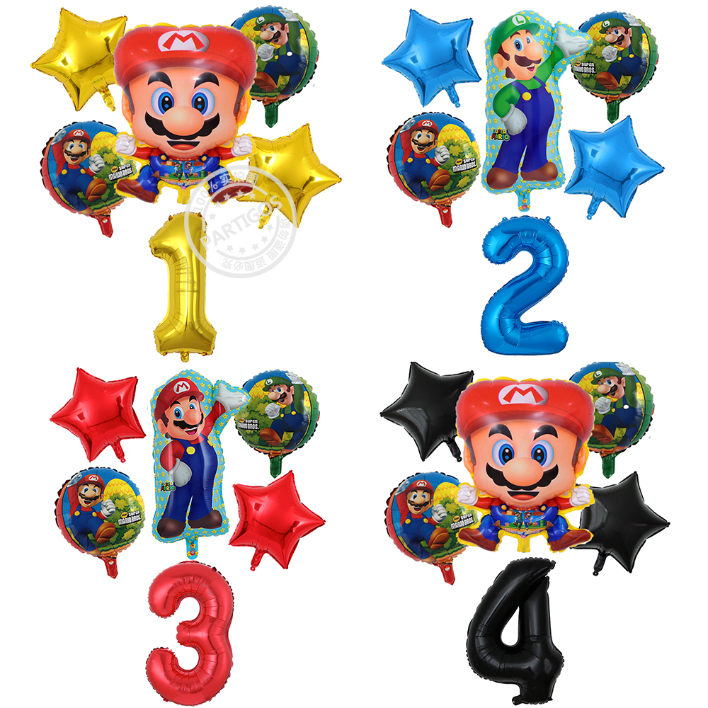 6pcs Super Mario Balloons <font><b>30</b></font> inch Number Balloons Boy Girl <font><b>Birthday</b></font> Party Mario Bros Mylar Blue Red Gold Black Balloon Set <font><b>Decor</b></font> image