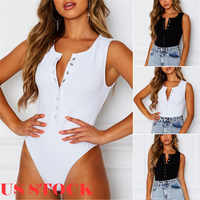Forefair Sexy Bodycon Bodysuit Sleeveless Square Neck Sheath Open Crotch Basic White Black Overalls Women Body Top