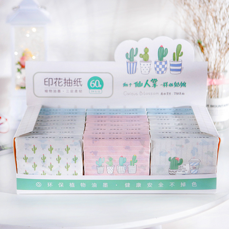 New Products Cactus Printed Cute Soft Removable 3-Layer Thick Paper Towel Wholesale Manufacturers Direct Selling 24 Bag A Box