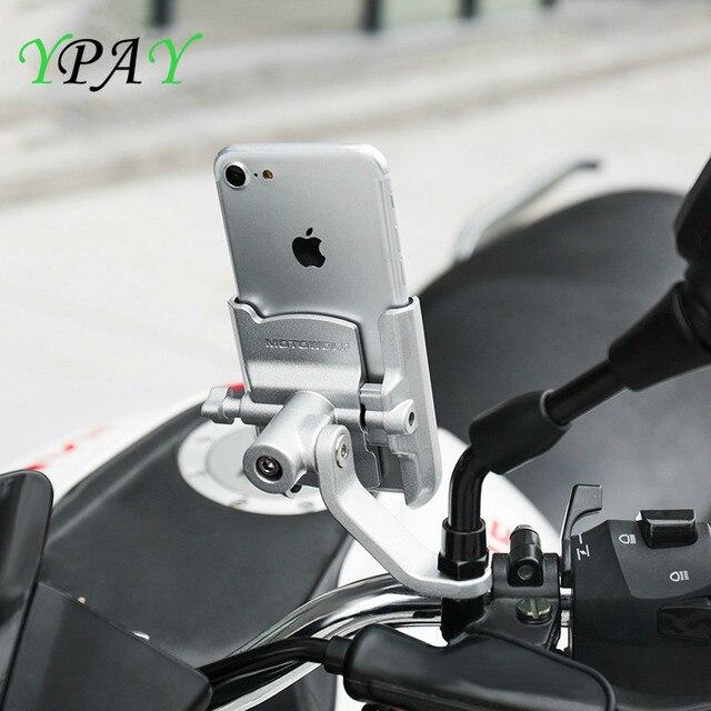 YPAY alüminyum bisiklet motosiklet telefon tutucu usb şarjlı 12 24V dikiz gidon ayna dağı bisiklet telefon braketi