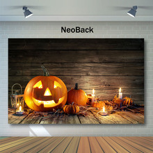 NeoBack Happy Halloween Wood Backdrop Warehouse Pumpkin Light Candle Photography Backdrops Party Photo Background