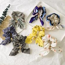 Женская повязка на голову в полоску с цветочным узором и бантиком