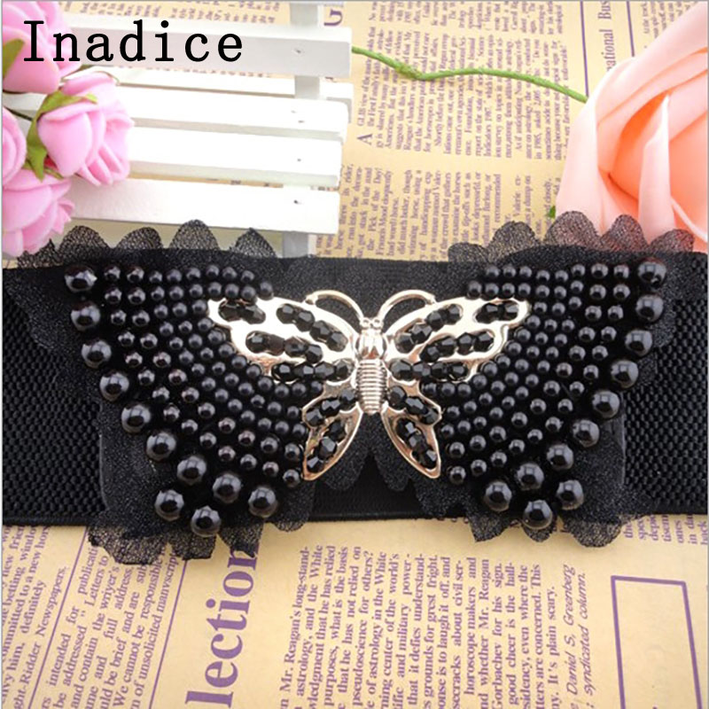 Inadice Beauty Fashion Elegant Dress Wide Belt Pearl Inlay Butterfly Shape Shiny Wide Belt Women's Belt
