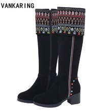 купить national suede leather knee high boots for women high heels round toe female fashion dress shoes ladies autumn winter snow boots дешево