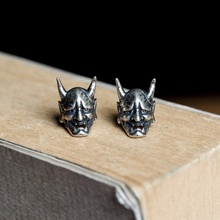 Gothic Style Simple Silver Color Ghost Skull Stud Earring Personality Punk Ox Horn Mask Male Women's Earring Jewelry Gifts stylish rhinestone skull stud earring