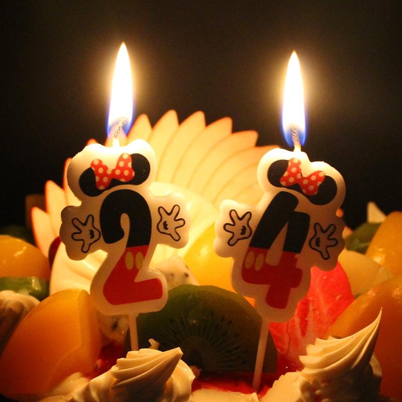 1 шт., свечи с изображением Микки Мауса для торта, мерцающие и блестящие вечерние украшения для маленьких детей, вечерние инструменты для укр...