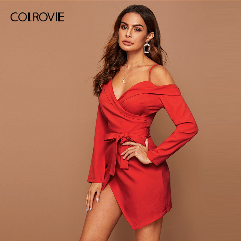 COLROVIE Bright Red Asymmetrical Neck Belted Wrap Dress Women Solid Long Sleeve Mini Dress 2020 Spring Sexy High Waist Dresses 4