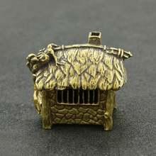 Медный мини дом Античная Медная резьба бронзовая печь для чайной